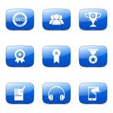 El icono azul de SEO Internet Sign Square Vector fijó 9 Foto de archivo
