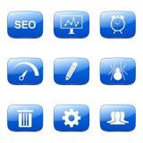 El icono azul de SEO Internet Sign Square Vector fijó 8 Fotos de archivo libres de regalías