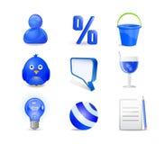 El icono azul fijó - al utilizador, el por ciento, compartimiento, pájaro, charla Fotografía de archivo