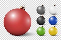 El icono brillante realista de la bola de cristal de la Navidad blanca 3d del vector, primer de la maqueta aisló Plantilla del di stock de ilustración
