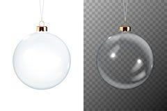 El icono brillante transparente de la bola de cristal de la Navidad realista 3d del vector, primer del sistema de la maqueta aisl stock de ilustración