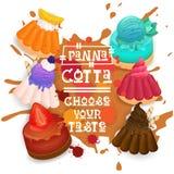 El icono colorido de Panna Cotta Set Desserts Collection elige su cartel del café del gusto Imagen de archivo