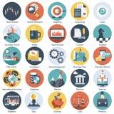 El icono colorido fijó para el negocio, la gestión, la tecnología y las finanzas Objetos planos para los sitios web y el móvil stock de ilustración