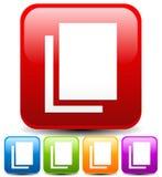El icono con las hojas de papel, par de papeles, apiló símbolo de los papeles Imágenes de archivo libres de regalías