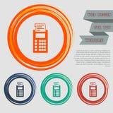 El icono de la calculadora en los botones rojos, azules, verdes, anaranjados para su sitio web y diseño con el espacio manda un S ilustración del vector