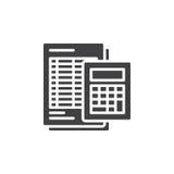 El icono de la calculadora y de la hoja vector, muestra plana llenada, pictograma sólido aislado en blanco Fotos de archivo libres de regalías