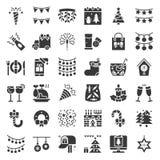 El icono de la Feliz Navidad fijó 3, diseño del glyph libre illustration