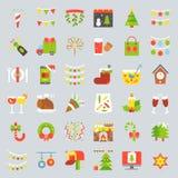 El icono de la Feliz Navidad fijó 3, diseño plano stock de ilustración