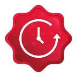 El icono de la historia brumoso subió botón rojo de la etiqueta engomada del starburst libre illustration