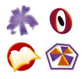 El icono de la insignia fijó 3 stock de ilustración
