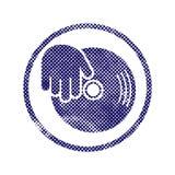 El icono de la mano del vinilo y de DJ con los puntos de semitono imprime textura Foto de archivo