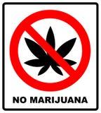 El icono de la muestra de la prohibición ningún cáñamo vector el ejemplo aislado en blanco con una hoja negra de la marijuana, ma Fotos de archivo libres de regalías