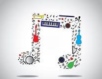 El icono de la nota de la música compuso de diversos instrumentos musicales y notas con un fondo blanco brillante Fotos de archivo libres de regalías