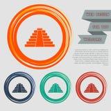 El icono de la pirámide en los botones rojos, azules, verdes, anaranjados para su sitio web y diseño con el espacio manda un SMS stock de ilustración