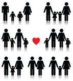 El icono de la vida familiar fijó en negro con un corazón rojo Fotografía de archivo