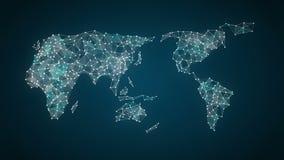 El icono de las compras de Internet conecta el mapa del mundo global, crece la red en línea del comercio 3 stock de ilustración