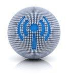 El icono de las noticias en el globo formó por la muestra de dólar Fotografía de archivo