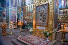 El icono de milagro-trabajo de la Virgen bendecida de Iver Imágenes de archivo libres de regalías