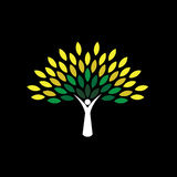 El icono del árbol de la gente con verde sale - de vector del concepto del eco Imagen de archivo