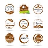 El icono del chocolate, del coffe y del caramelo diseña - la etiqueta engomada. Foto de archivo