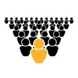 El icono del concepto de la dirección del vector, fuera de la muchedumbre, sea diferente, líder stock de ilustración