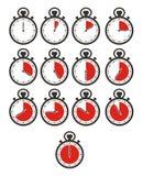 El icono del contador de tiempo fija - el cronómetro, color rojo Imagen de archivo libre de regalías