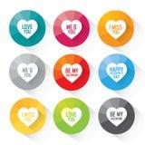 El icono del corazón fijó con los saludos - iconos coloridos del vector Imagen de archivo libre de regalías