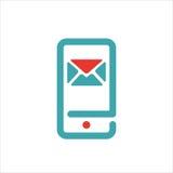 El icono del correo y del mensaje en smartphone defiende el ejemplo del vector Imagenes de archivo