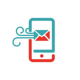 El icono del correo y del mensaje en smartphone defiende el ejemplo del vector Fotos de archivo libres de regalías