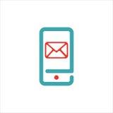 El icono del correo y del mensaje en smartphone defiende el ejemplo del vector Foto de archivo libre de regalías