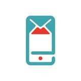 El icono del correo y del mensaje en smartphone defiende el ejemplo del vector Imagen de archivo libre de regalías