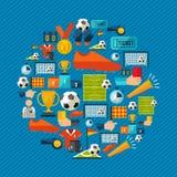 El icono del deporte del juego de fútbol fijó en estilo plano libre illustration