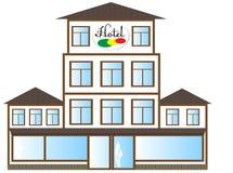 El icono del hotel se hace en un estilo plano Foto de archivo libre de regalías
