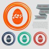 El icono del huevo de Pascua en los botones rojos, azules, verdes, anaranjados para su sitio web y diseño con el espacio manda un libre illustration
