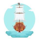 El icono del juego de la nave del perro de mar del corsario del obstruccionismo del bucanero del pirata de Front View Wooden aisl stock de ilustración