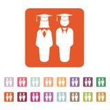 El icono del muchacho y de la muchacha del estudiante Escuela, academia, universidad, símbolo de la educación plano stock de ilustración