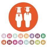 El icono del muchacho y de la muchacha del estudiante Escuela, academia, universidad, símbolo de la educación plano ilustración del vector