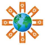El icono del mundo redondeó para los bolsos con el reciclaje de símbolo Imagen de archivo