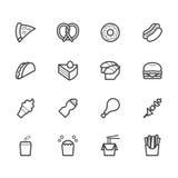 El icono del negro de los alimentos de preparación rápida fijó en el fondo blanco Imagen de archivo libre de regalías