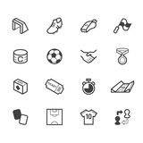 El icono del negro del elemento del fútbol fijó en el fondo blanco Fotografía de archivo