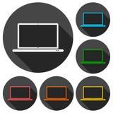 El icono del ordenador portátil, ejemplo del vector fijó con la sombra larga Imagenes de archivo