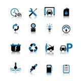 El icono del símbolo del coche fijó el negro y el azul aislados en el fondo blanco stock de ilustración