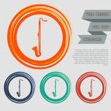 El icono del saxofón en los botones rojos, azules, verdes, anaranjados para su sitio web y diseño con el espacio manda un SMS ilustración del vector