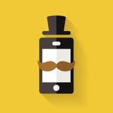 El icono del teléfono móvil del inconformista con el bigote y el sombrero, vector la pocilga plana stock de ilustración