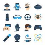 El icono del vector de la realidad virtual fijó en estilo plano Fotografía de archivo