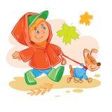 El icono del vector del pequeño muchacho camina con su perrito Fotografía de archivo