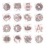 El icono del vector fijó para el concepto del AI de la inteligencia artificial Variou Foto de archivo