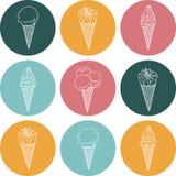 El icono del vector siluetea el helado con la firma Fotografía de archivo