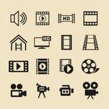 El icono del vector del vídeo y del cine fijó para el sitio web o el app stock de ilustración