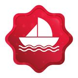 El icono del velero brumoso subió botón rojo de la etiqueta engomada del starburst stock de ilustración